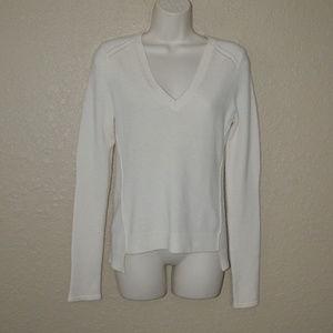 Sz M Inhabit Ivory Cashmere Blend V-Neck Sweater